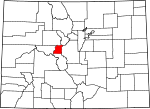 Map of Colorado showing Lake County