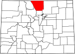 Map of Colorado showing Larimer County