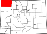 Map of Colorado showing Moffat County