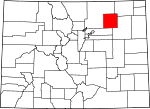 Map of Colorado showing Morgan County