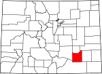 Map of Colorado showing Otero County