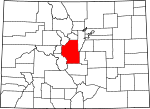 Map of Colorado showing Park County