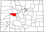 Map of Colorado showing Pitkin County