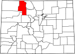 Map of Colorado showing Routt County