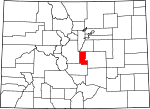 Map of Colorado showing Teller County