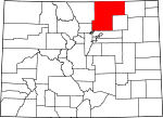Map of Colorado showing Weld County
