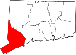 Map of Connecticut showing Fairfield County