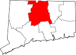 Map of Connecticut showing Hartford County