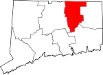 Map of Connecticut showing Tolland County