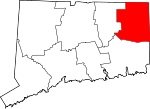 Map of Connecticut showing Windham County