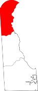 Map of Delaware showing New Castle County