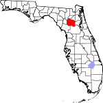 Map of Florida showing Alachua County