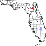 Map of Florida showing Bradford County