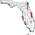 Map of Florida showing Brevard County