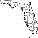 Map of Florida showing Dixie County