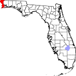 Map of Florida showing Escambia County