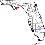 Map of Florida showing Franklin County