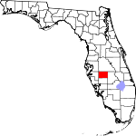 Map of Florida showing Hardee County