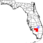Map of Florida showing Hendry County