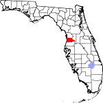 Map of Florida showing Hernando County