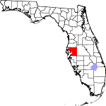 Map of Florida showing Hillsborough County
