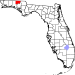 Map of Florida showing Holmes County