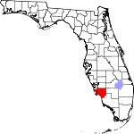 Map of Florida showing Lee County