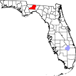Map of Florida showing Leon County