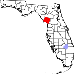 Map of Florida showing Levy County