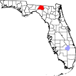 Map of Florida showing Madison County