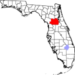 Map of Florida showing Marion County