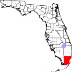 Map of Florida showing Miami-Dade County