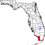 Map of Florida showing Monroe County