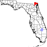 Map of Florida showing Nassau County
