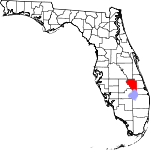 Map of Florida showing Okeechobee County