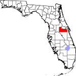 Map of Florida showing Orange County