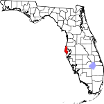Map of Florida showing Pinellas County