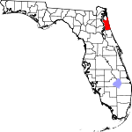 Map of Florida showing St. Johns County