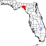 Map of Florida showing Taylor County