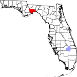 Map of Florida showing Wakulla County