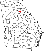 Map of Georgia showing Athens - Clarke County