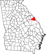 Map of Georgia showing Augusta - Richmond County