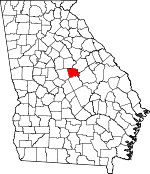 Map of Georgia showing Baldwin County