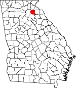 Map of Georgia showing Banks County