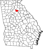 Map of Georgia showing Barrow County