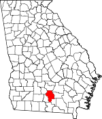 Map of Georgia showing Berrien County