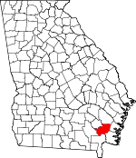 Map of Georgia showing Brantley County