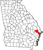 Map of Georgia showing Bryan County