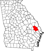 Map of Georgia showing Bulloch County