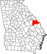 Map of Georgia showing Burke County